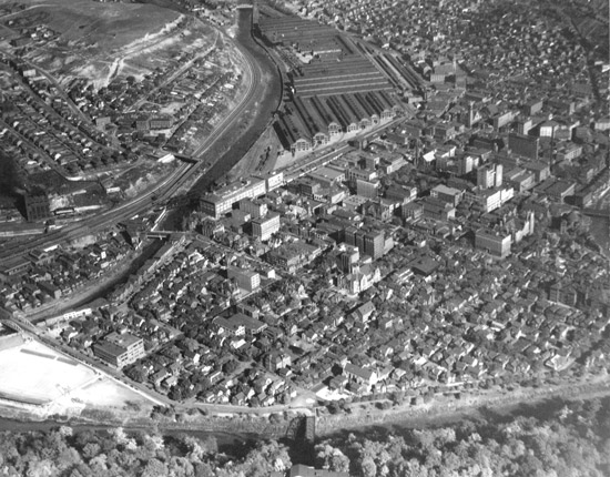 Black And White Aerial View Of Downtown Johnstown In The 1920s
